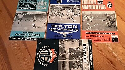 4 - Bolton Wanderers Programmes from 1970's