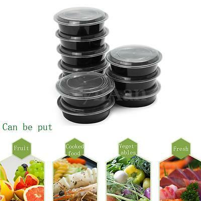 10Ps Meal Prep Meal Food Box Plastic Storage Container+Lid Microwavable Takeaway