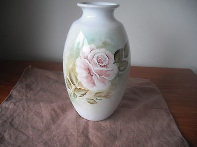 Dartmouth Pottery Hand Painted by Janice VASE Large Rose Decoration