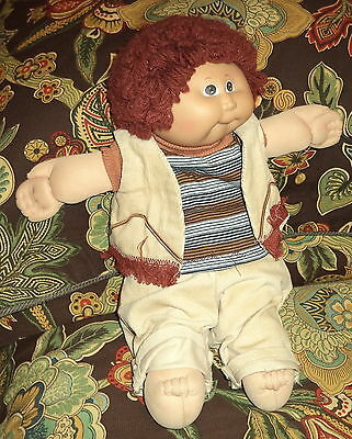 """Vintage  1985 Cabbage Patch Kids 16"""" Doll w/ Red Popcorn Hair & Brown Eyes"""