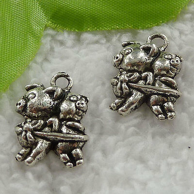 free ship 160 pieces tibet silver pig charms 22x16mm #3118