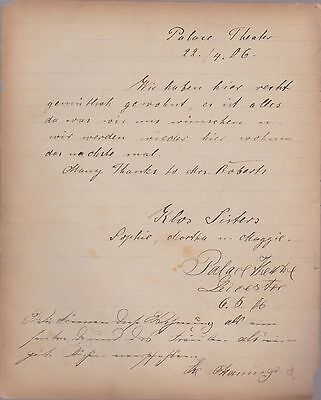 EDWARDIAN STAGE - 2 pages (4 x sides) of Autographs of Acts -