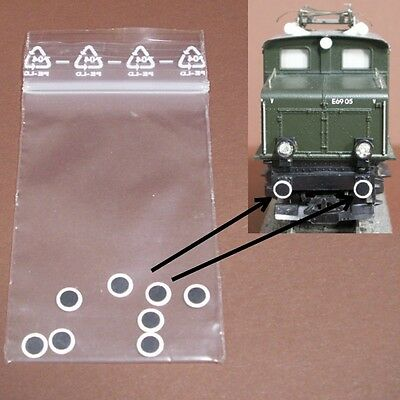 W17 H0 - 8 Piece Buffer plate warning discs self adhesive for of locomotives