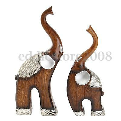 "Feng Shui Pair of 10"" Elegant Elephant Statue Lucky Figurine Gift Home Decor"