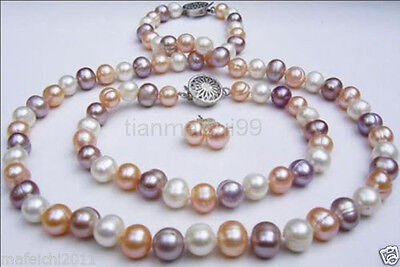 7-8mm mixed-colour Freshwater pearl Necklaces Bracelets Earrings sets