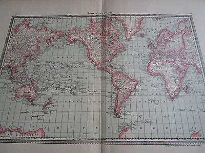 """Antique 1885 MAP OF THE WORLD / Rand McNally 29x18"""" Wall Map"""