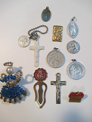 Lot Vintage Religion Icon Charms / Crosses / Angel Pin