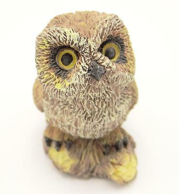"""Owl Seated On Branch Figurine 2"""" Wise Old Bird Cast Resin"""