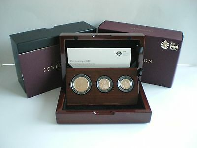 2017 ROYAL MINT UK GOLD PROOF PREMIUM THREE 3 COIN SOVEREIGN SET (in stock)