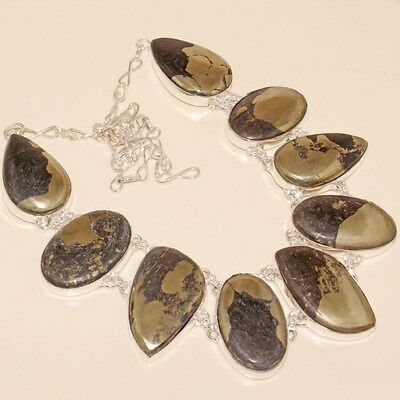 Free Shipping Awesome Pyrite Silver Necklace 115 Gms