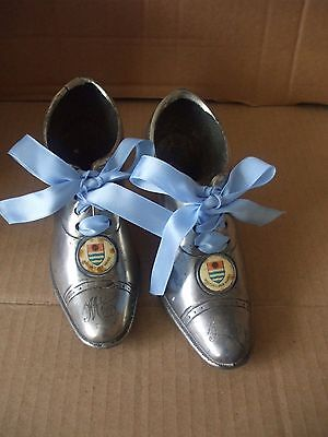 Vintage Retro Metal Ware Silver Coloured Pair of Victorian Style Shoes Souvenir