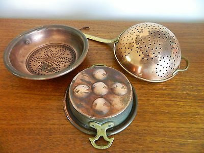 Pretty Copper Vintage/  Antique Victorian Kitchenware x 3 Sieves, Mould, Lovely