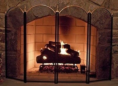 Black Metal Wrought Iron Fire Place Screen Oven Decorative Mesh Cover Safe Doors