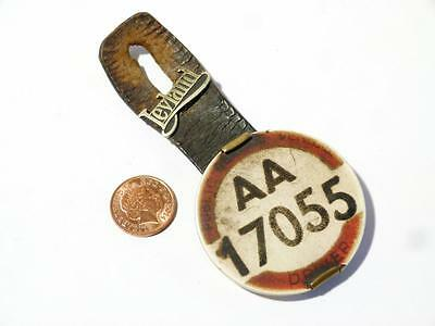 Vintage AA 17055 Bus Drivers Badge & LEYLAND Brass Lapel badge on Leather Strap