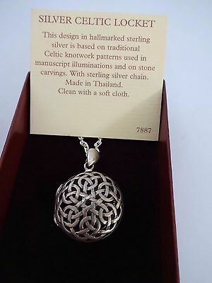 past times sterling silver 925 celtic knot round locket with chain