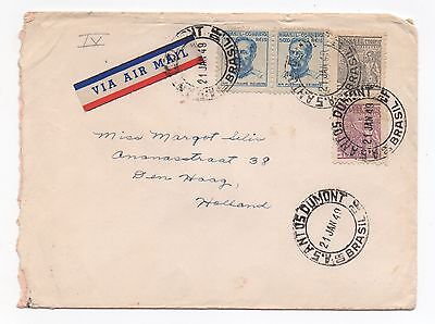 1949 BRAZIL Air Mail Cover SANTOS DUMONT To DEN HAAG HOLLAND