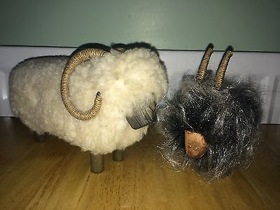 Vintage Real Wool Wooden Sheep/Ram & Goat Figures/ Ornaments
