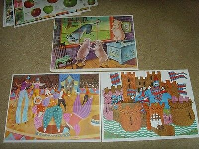 Vintage Evans Bros 1970s Child Education Posters 60x45 Three Pigs Castle Circus