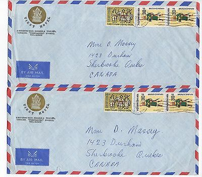 1972 VIETNAM 2 Air Mail Covers To SHERBROOKE QUEBEC CANADA Bankok Hotel Envelope