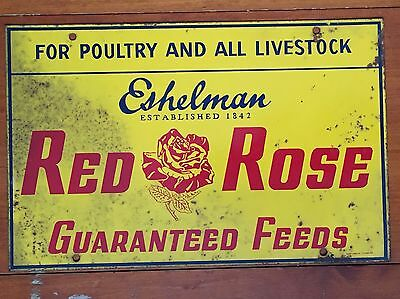 Red Rose Metal Advertising Sign Poultry And Livestock Feeds Eshelman