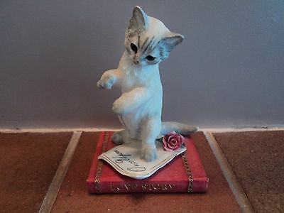 Vintage (Country Artists) Striped Faced Cat On Book - Lovely Item (Mint).