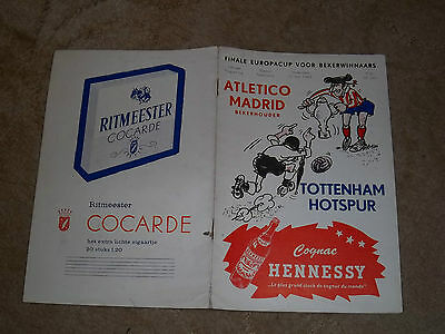 1963 Cup Winners Cup Final Atletico Madrid v Tottenham Hotspurs Programme