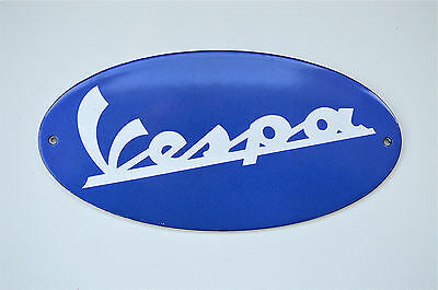 Superb heavy quality enamel advertising sign blue Vespa oval scooter plaque