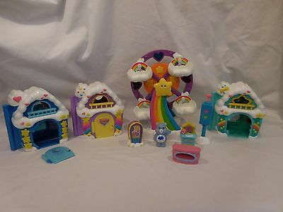 Vintage Lot of Care Bears Ferris Wheel + 3 Houses + Care Bear + Accessories