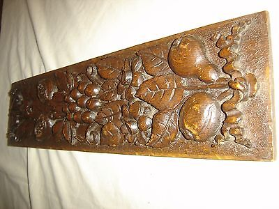 Antique Ornate Oak Carved Pediment or Salvage Piece. Carved Flowers, Leaves 9458