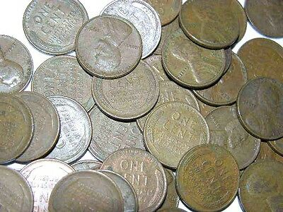 USA wheat 1 cent lot of 100 unsearched mixed date circulated