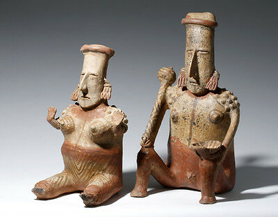ARTEMIS GALLERY Jalisco Polychrome Male + Female Figures, Matched Pair!