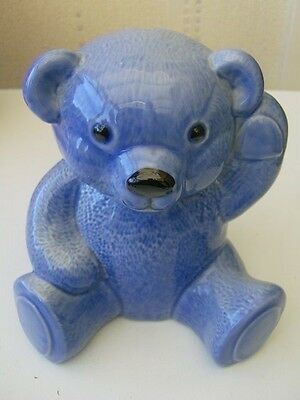 Lovely WADE Teddy Bear Porcelain Money Box BLUE only BLUE one on ebay exc cond!