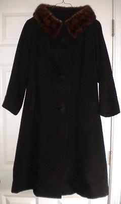 Womens Vintage 50's 60's Jackie O Style Black Wool Forstmann Mink Collar Coat