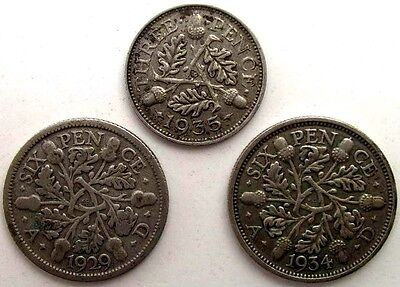 Great Britain Uk Coins, Lot Of 3, Threepence 1935, Sixpence 1929 & 1934, Silver