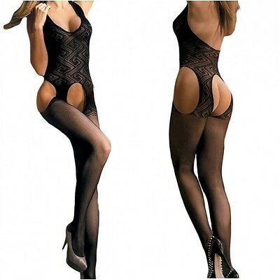 79882 - Black halter neck open gusset patterned full bodystocking bodysuit 10/12