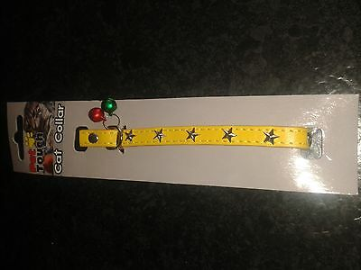 Yellow  Studded Cat Collar With 2 Coloured Bird Warning Bells.nwt New