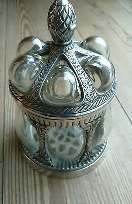 Vintage Caged Bubble Glass Pewter Metal Silver Lidded Container