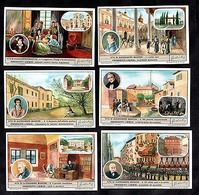 Life Of Alessandro Manzoni Card Set Liebig 1951 Italy Writer Theatre