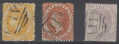 St. Lucia Scott 8,10,13 Used (Catalog Value $101.00) - #8 and 10 minor faults