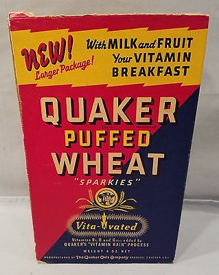 Dated 1940 Very Clean Empty Quaker Puffed Wheat Sparkies Cereal Box  NO Reserve