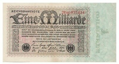 One Milliard Marks German banknote issued in 05.09.1923 20AG aunc