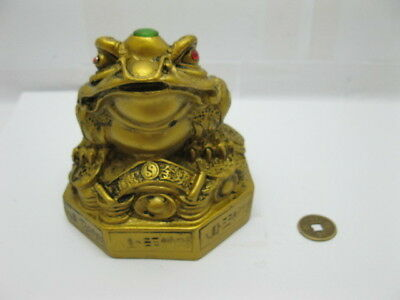 4X Brass Plated Feng Shui Money Frog On Treasure 9x9cm