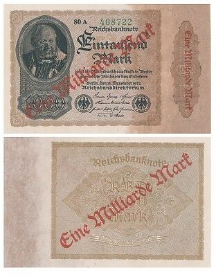 One Milliard Marks German banknote issued in 15.12.1922  80A aunc overprinted