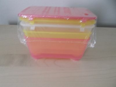 3 plastic LIDDED BOXES from Ikea (Glis) New and Unused.