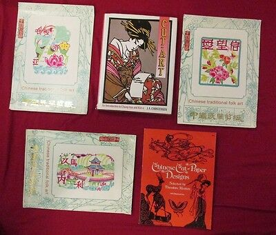 Nice Lot CHINESE PAPER CUTS Books TRADITIONAL FOLK ART CUT OUTS Designs CUT ART