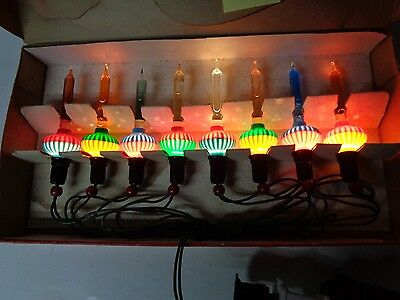Old 8 Light C-6 GLOLITE BUBBLE LIGHT SET in ORIGINAL BOX w CORD #402