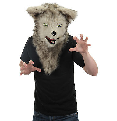 Deluxe Gray Wolf Furry Animal Moving Mouth Costume Adult Halloween Mask