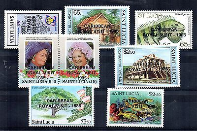 1985 SAINT LUCIA Caribbean Royal Visit overprint set SG846/53 unmounted mint