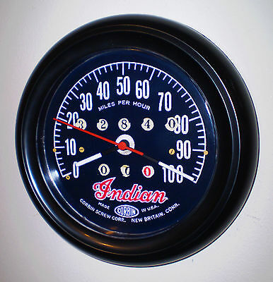 Indian Motorcycles Classic Corbin Speedometer Style Wall Clock 1930's Style.