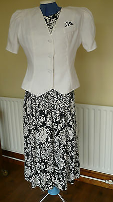 Vintage 1980's Ladies size 12 summer weight Navy/white Dress and Jacket